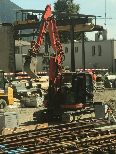 Backhoe by the railroad track