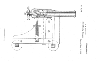 20,608 - Improvement in Breech-Loading Cannon (J. H. MURRILL, OF BALTIMORE, MARYLAND, ASSIGNOR TO HIMSELF; June 15, 1858)