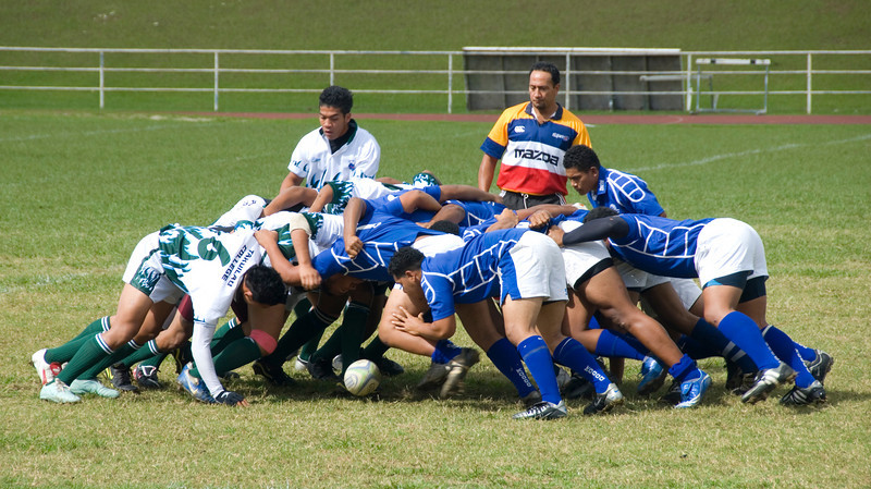 Scrum during a rugby match in Tonga