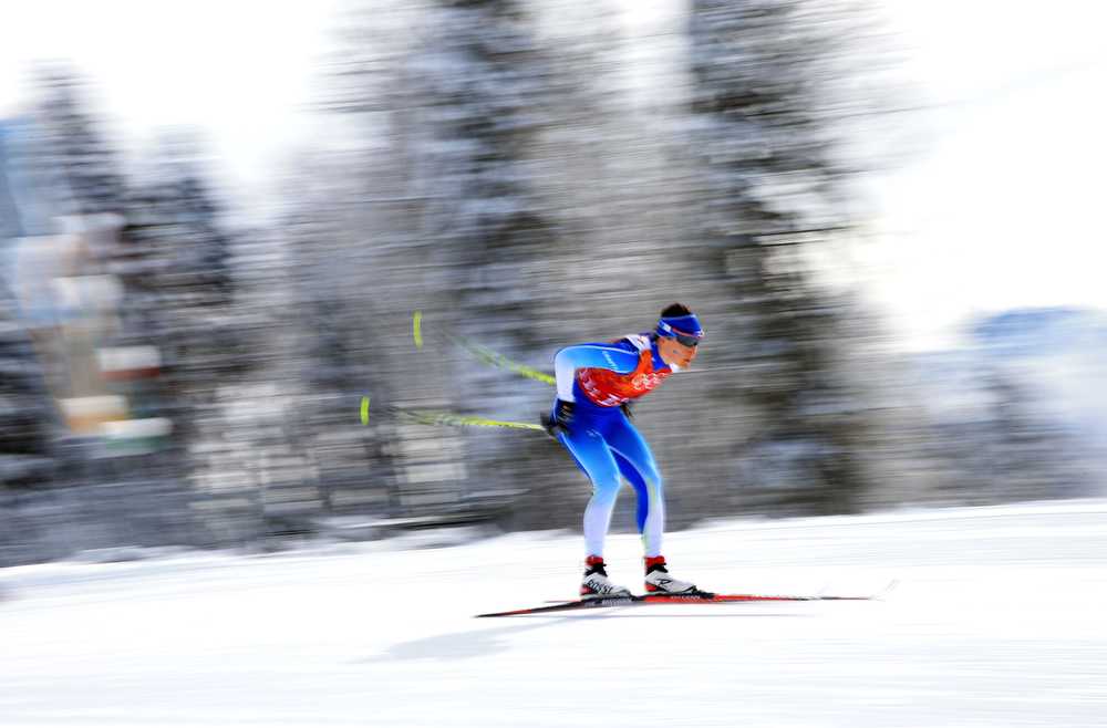 . Aino-Kaisa Saarinen of Finland competes in the Women\'s Team Sprint Classic Semifinals during day 12 of the 2014 Sochi Winter Olympics at Laura Cross-country Ski & Biathlon Center on February 19, 2014 in Sochi, Russia.  (Photo by Richard Heathcote/Getty Images)