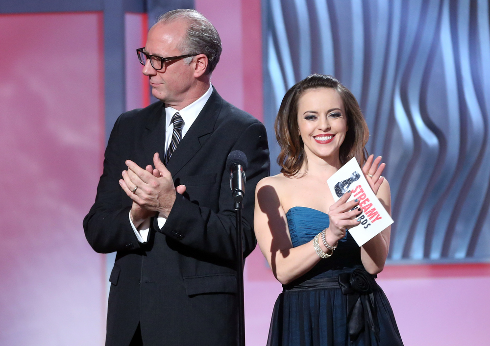 Description of . Actors Xander Berkeley and Olga Kay speak onstage at the 3rd Annual Streamy Awards at Hollywood Palladium on February 17, 2013 in Hollywood, California.  (Photo by Frederick M. Brown/Getty Images)