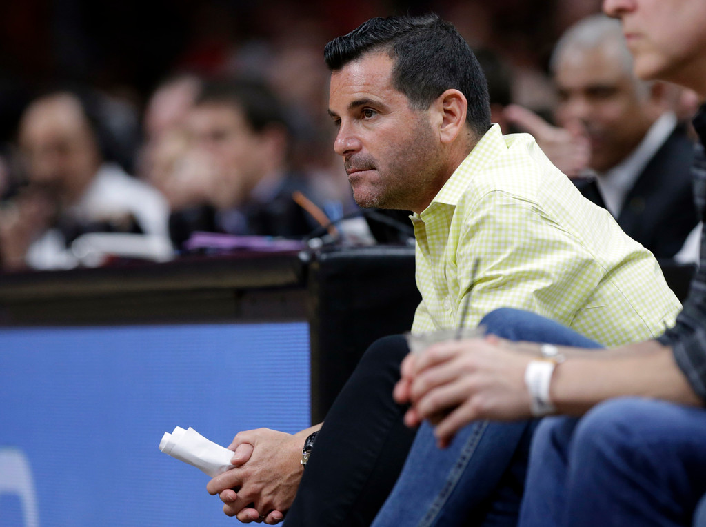 . Miami Marlins president David Samson watches an NBA basketball game between the against the Miami Heat and against the Cleveland Cavaliers, Saturday, March 4, 2017, in Miami. (AP Photo/Lynne Sladky)