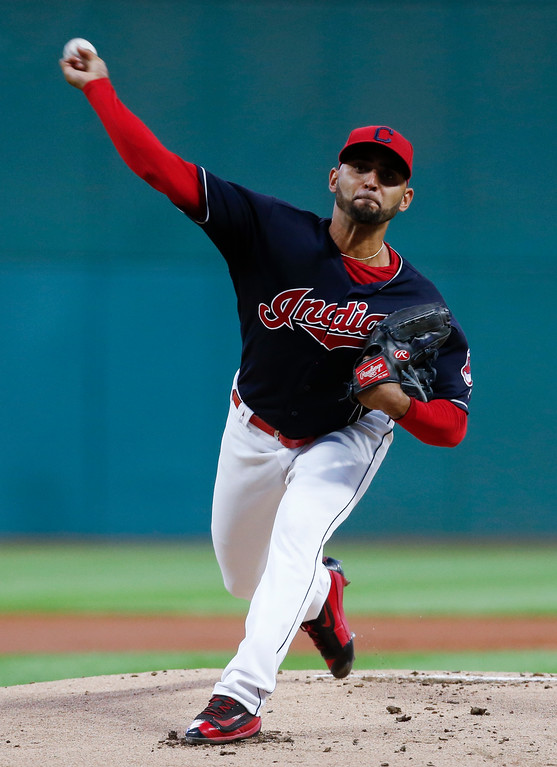 . Cleveland Indians starting pitcher Danny Salazar delivers against the Minnesota Twins during the first inning in a baseball game, Wednesday, Sept. 27, 2017, in Cleveland. (AP Photo/Ron Schwane)