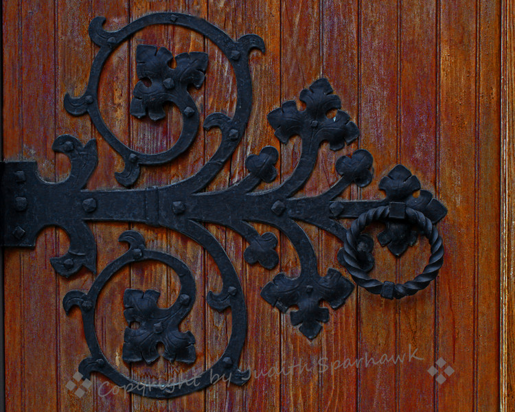 Church Door Detail ~ This close-up of the decorative hardware on the church door really speaks to me.  I want to grab the door pull and walk on in.