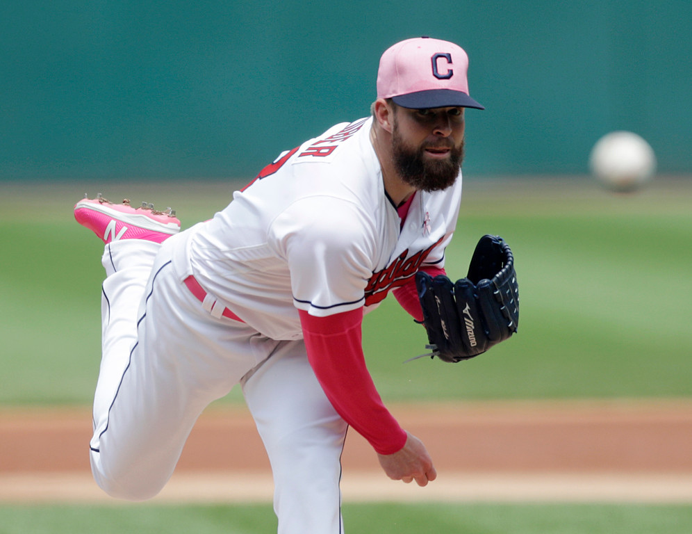 . Cleveland Indians starting pitcher Corey Kluber delivers in the first inning of a baseball game against the Kansas City Royals, Sunday, May 13, 2018, in Cleveland. (AP Photo/Tony Dejak)