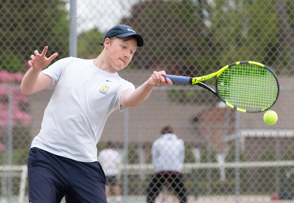05/09/19 Wesley Bunnell | Staff Newington boys tennis defeated New Britain at New Britain High School on Thursday afternoon. Newington's number one player Sean Davis.