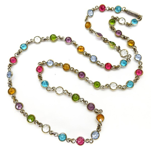 VINTAGE ART DECO RAINBOW BEZEL SET GLASS PANEL NECKLACE
