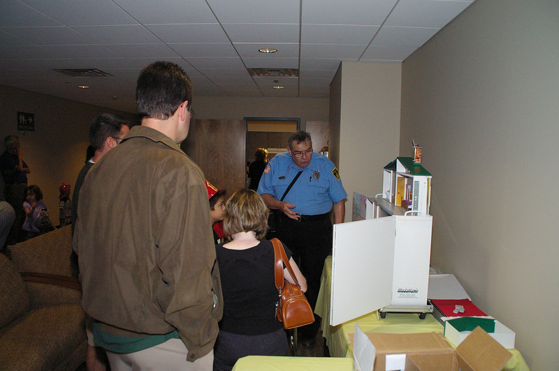 Fire Police Officer Frank Sayford giving words of wisdom regarding hazards in the home.