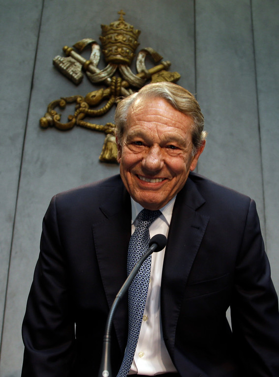 . FILE -- In this photo taken on April 25, 2014, former Pope John Paul II spokesperson Joaquin Navarro-Valls smiles prior to the start of a press conference at the Vatican. Joaquin Navarro-Valls, a suave, silver-haired Spaniard who was a close confidant of Pope John Paul II, serving for more than two decades as chief Vatican spokesman, has died at the age of 80, Wednesday, July 5, 2017.  (AP Photo/Gregorio Borgia)