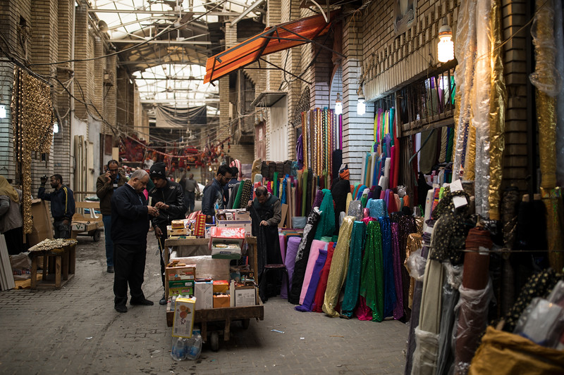 Souk al-Safafeer in Central Baghdad. Originally a copper market but some of the shops have now been displaced by fabric shops.