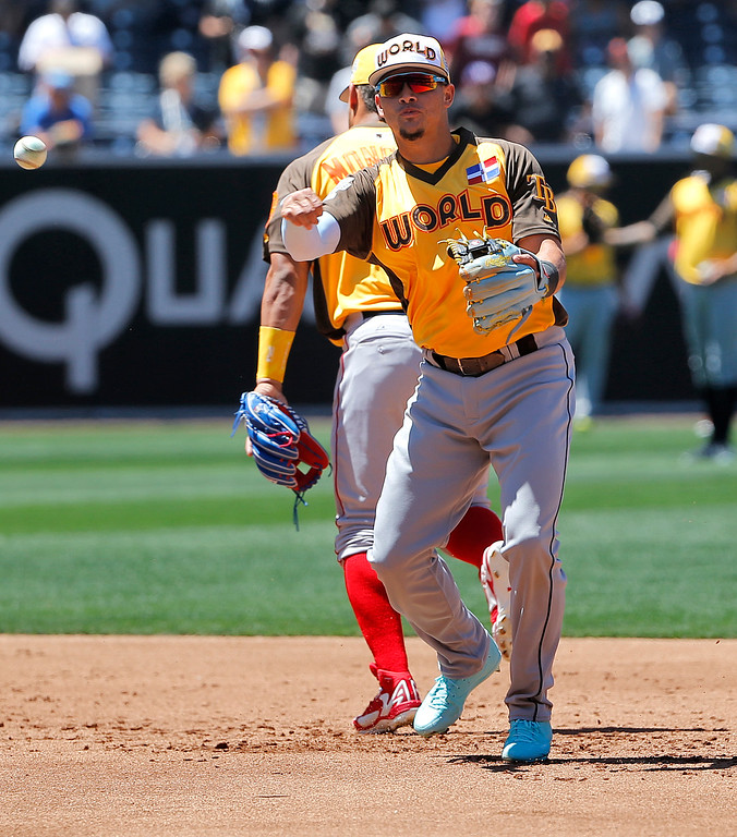. World Team\'s Willy Adames , of the Tampa Bay Rays, fields a ball prior to the All-Star Futures baseball game against the U.S. Team, Sunday, July 10, 2016, in San Diego. (AP Photo/Lenny Ignelzi)