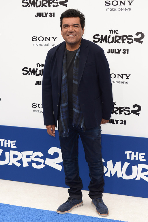 """. August 31, 2013: George Lopez<br /> <br />George Lopez arrives at the world premiere of \""""The Smurfs 2\"""" at the Regency Village Theatre on Sunday, July 28, 2013 in Los Angeles. (Photo by Jordan Strauss/Invision/AP)"""
