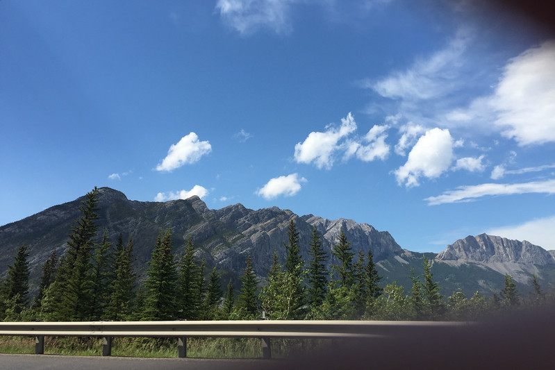 The drive to Banff was quite pretty. We hit the mountains and had to ask Sammi to take a snap out the window!