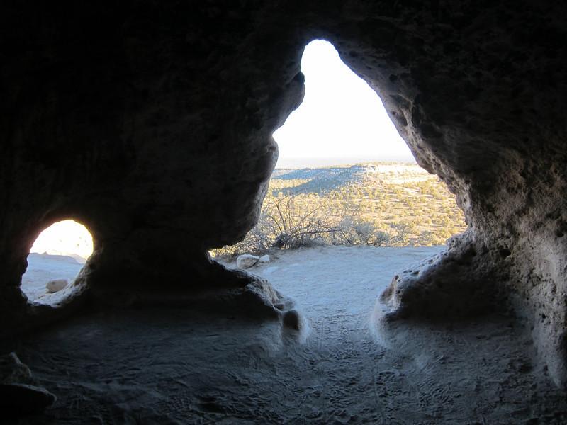 Cave dwelling below pueblo ruins, looking to the south.