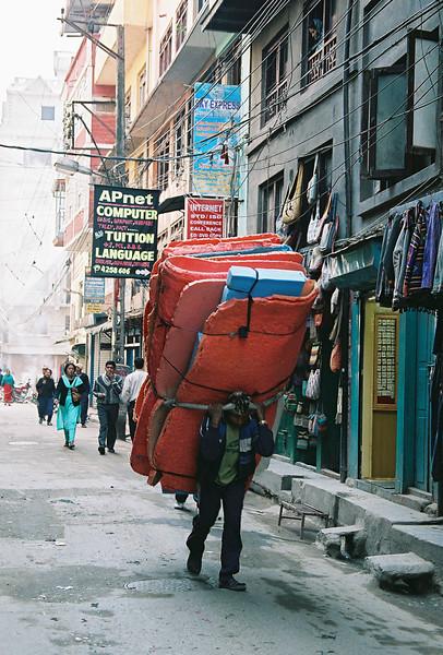Transporting foam in Thamel, Kathmandu