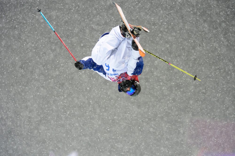 . France\'s Thomas Krief flips during the men\'s ski halfpipe final. Sochi 2014 Winter Olympics on Tuesday, February 18, 2014. (Photo by AAron Ontiveroz/The Denver Post)