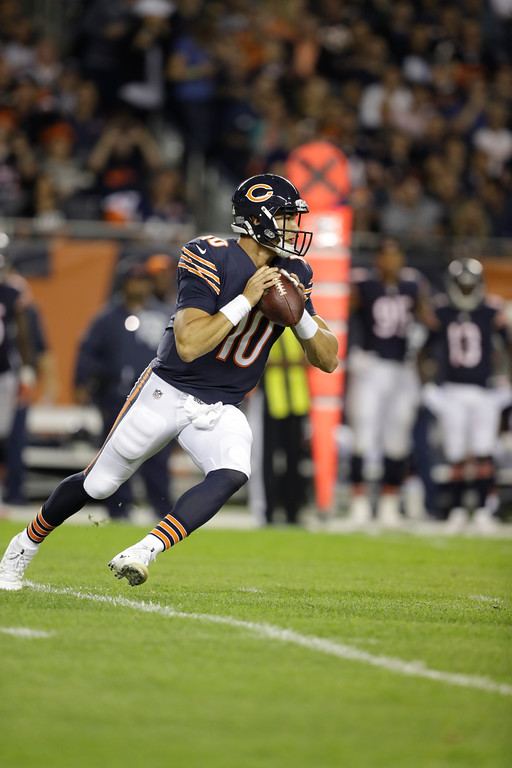 . Chicago Bears quarterback Mitchell Trubisky (10) scrambles during the first half of an NFL football game against the Minnesota Vikings, Monday, Oct. 9, 2017, in Chicago. (AP Photo/Darron Cummings)