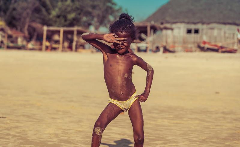 Cute Kid on the Beach in Madagascar