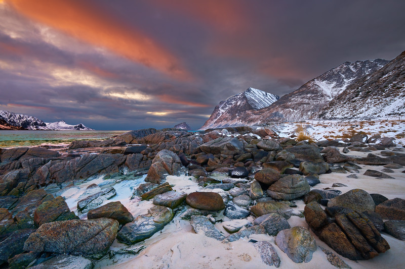 Flakstad Beach by sunset