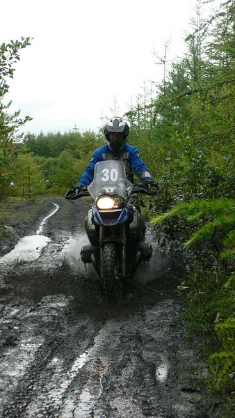 Hana gets dirty! :-)  BMW  Off Road Course, Level 1 Advanced, Wales August 2008