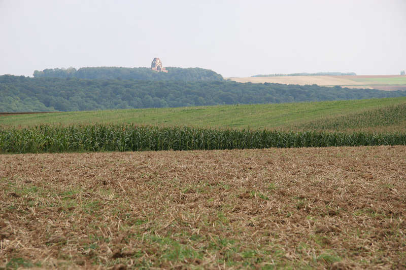 Looking across the front lines of the Battle of the Somme from Beaumont Hamel towards the British memorial at Thiepval.