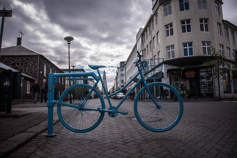 2016.05.19 - Reykjavik, Iceland. Iron bicycle to block street for pedestrian traffic.