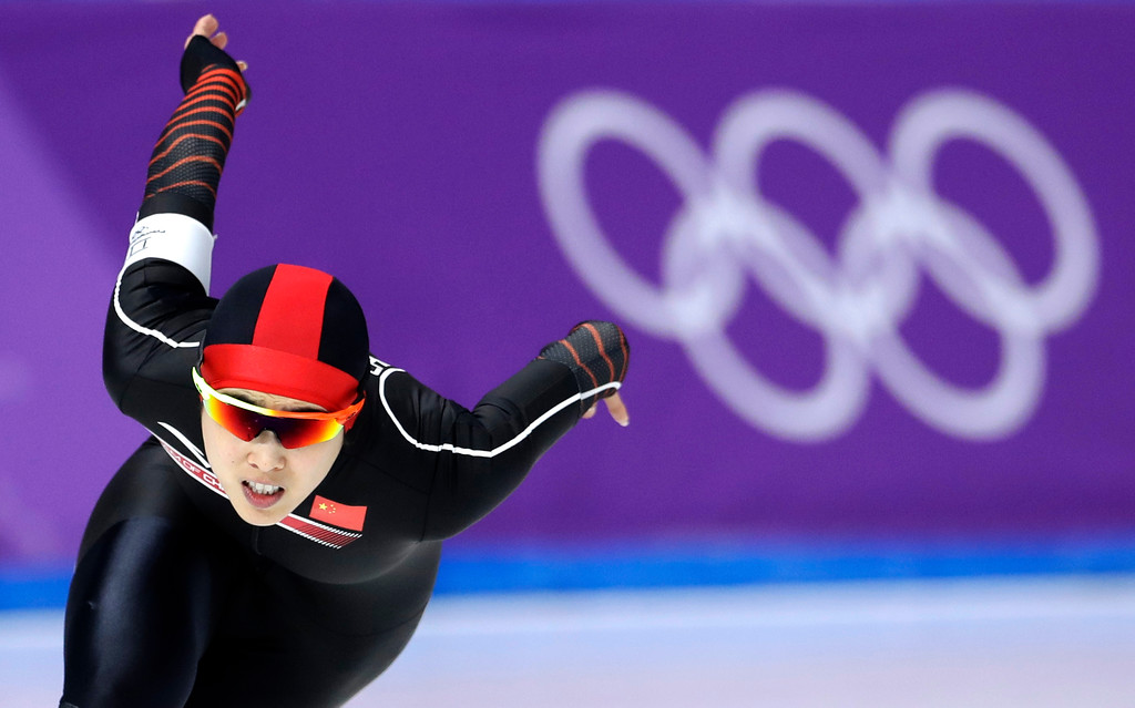 . Yu Jing of China competes during the women\'s 500 meters speedskating race at the Gangneung Oval at the 2018 Winter Olympics in Gangneung, South Korea, Sunday, Feb. 18, 2018. (AP Photo/Petr David Josek)