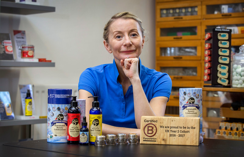 Jo Chidley - Owner of Beauty Kitchen based in Wishaw has been nominated for top business award and is announcing the expansion of her business .
