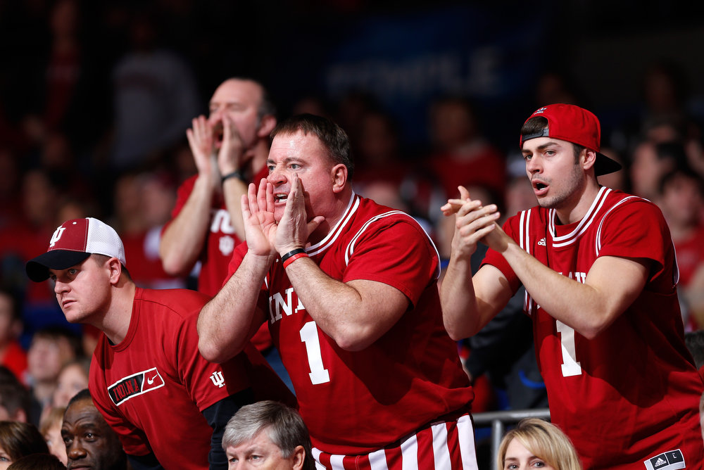 . Indiana Hoosiers fans yell from the crowd in the second half against the Temple Owls during the third round of the 2013 NCAA Men\'s Basketball Tournament at UD Arena on March 24, 2013 in Dayton, Ohio.  (Photo by Joe Robbins/Getty Images)