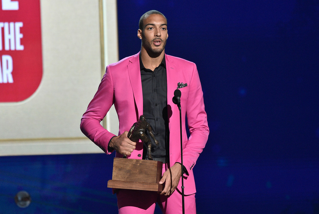 . Rudy Gobert, of the Utah Jazz, accepts the defensive player of the year award at the NBA Awards on Monday, June 25, 2018, at the Barker Hangar in Santa Monica, Calif. (Photo by Chris Pizzello/Invision/AP)