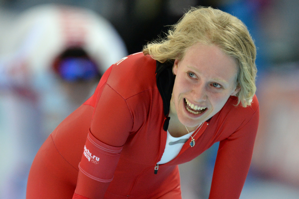 . Norway\'s Mari Hemmer reacts after the Women\'s Speed Skating 5000 m at the Adler Arena during the Sochi Winter Olympics on February 19, 2014.  (ANDREJ ISAKOVIC/AFP/Getty Images)
