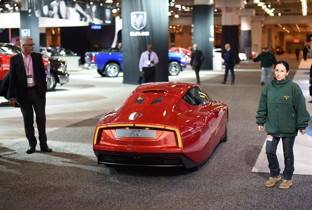. A Volkswagen XL1 car is displayed during the second press preview day at the 2014 New York International Auto Show  April 17, 2014  in New York at the Jacob Javits Center. AFP PHOTO / Timothy A. CLARY/AFP/Getty Images