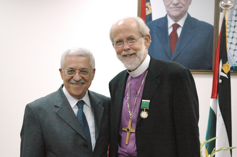 ELCA Presiding Bishop Mark Hanson, right, was one of the three LWF leaders who met with Palestinian Authority President Mahmoud Abbas, left, in Gaza City Sept. 3.