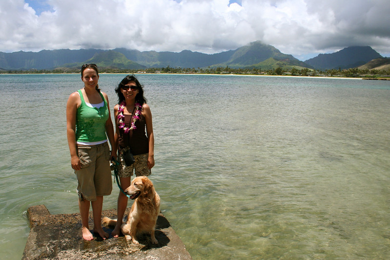 wendy, monica and mari (the dog) at the honu (sea turtle) bay near wendy's place