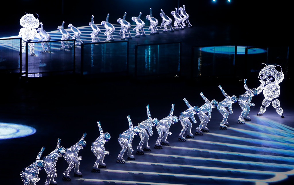 . Dancers perform during the closing ceremony of the 2018 Winter Olympics in Pyeongchang, South Korea, Sunday, Feb. 25, 2018. (AP Photo/Michael Probst)