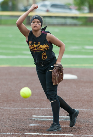 05/17/18 Wesley Bunnell | Staff New Britain softball defeated Wethersfield on Thursday afternoon at Chesley Park. Joseleen Rivera (6).
