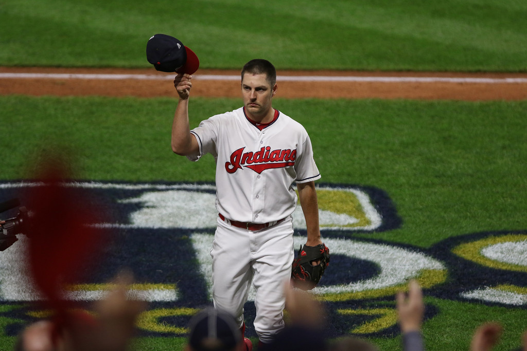. Tim Phillis - The News-Herald Trevor Bauer acknowledges fans during Game 1 of the American League Division Series against the Yankees on Oct. 5 at Progressive Field.