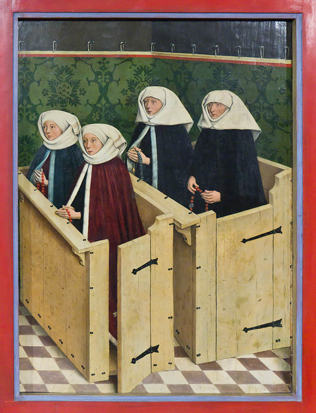Nördlingen. Stadtmuseum. Hochaltar, Aussenflügel: Stifterin