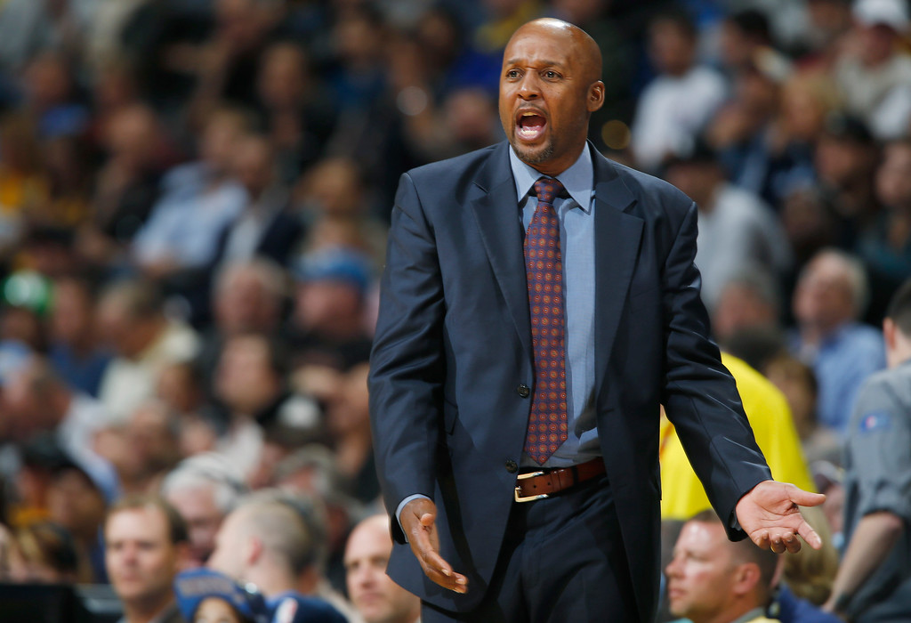 . Denver Nuggets head coach Brian Shaw disputes a call against his team while facing the Detroit Pistons in the third quarter of the Nuggets\' 89-79 victory in an NBA basketball game in Denver on Wednesday, Oct. 29, 2014. (AP Photo/David Zalubowski)