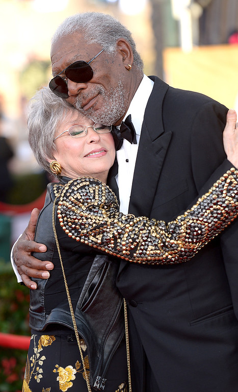 . Morgan Freeman and Rita Moreno arrives at the 20th Annual Screen Actors Guild Awards  at the Shrine Auditorium in Los Angeles, California on Saturday January 18, 2014 (Photo by Michael Owen Baker / Los Angeles Daily News)