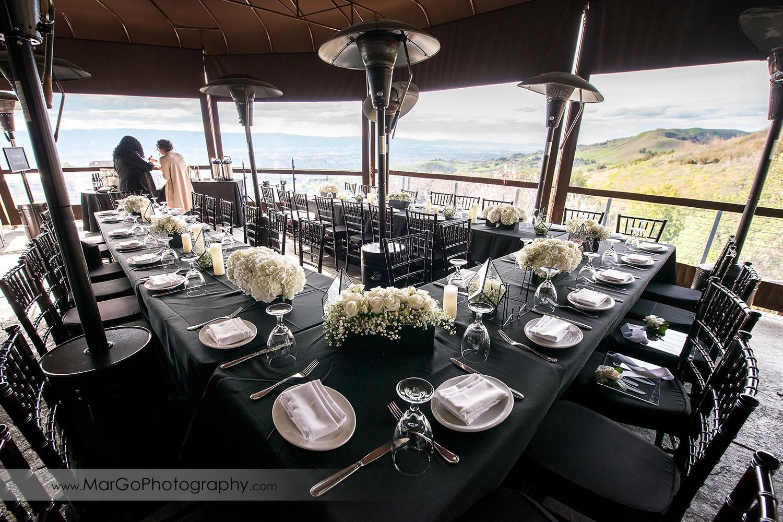 reception tables at Mt Hamilton GrandView Restaurant in San Jose