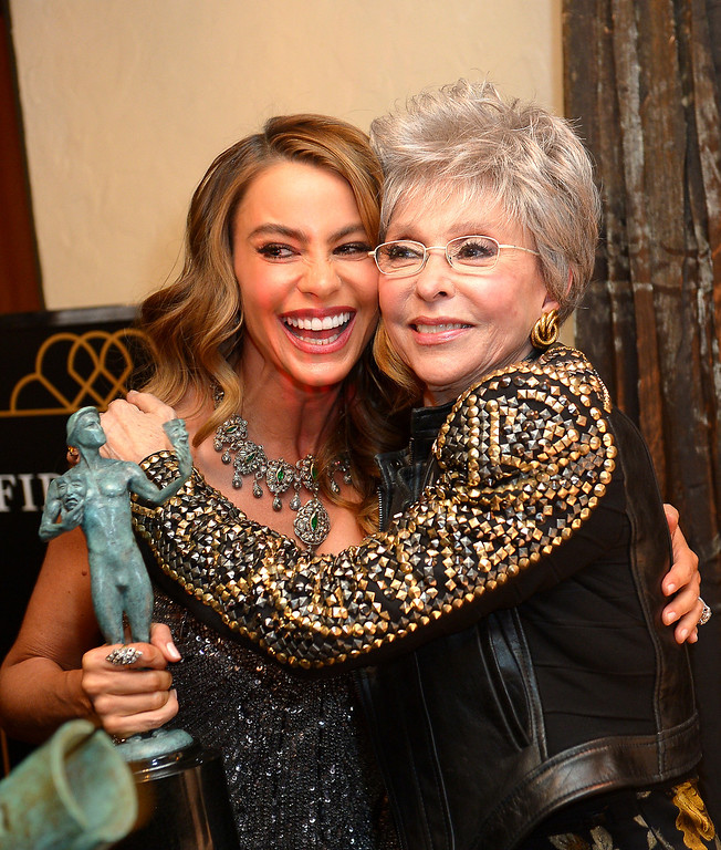 . Sofia Vergara and Rita Moreno backstage at the 20th Annual Screen Actors Guild Awards  at the Shrine Auditorium in Los Angeles, California on Saturday January 18, 2014 (Photo by Michael Owen Baker / Los Angeles Daily News)