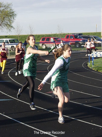 Girls track and field at Simons Relays in Dike