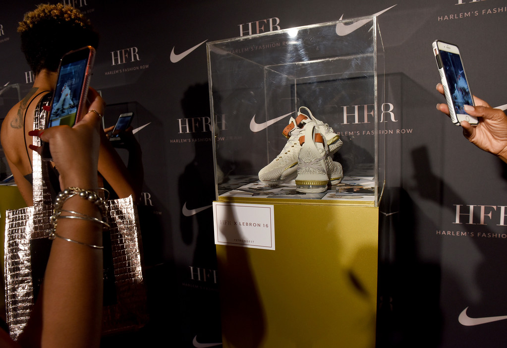 . The HFR x LeBron 16 shoe is unveiled at the Harlem Fashion Row show and awards ceremony before the start of New York Fashion Week, Tuesday, Sept. 4, 2018. (AP Photo/Diane Bondareff)