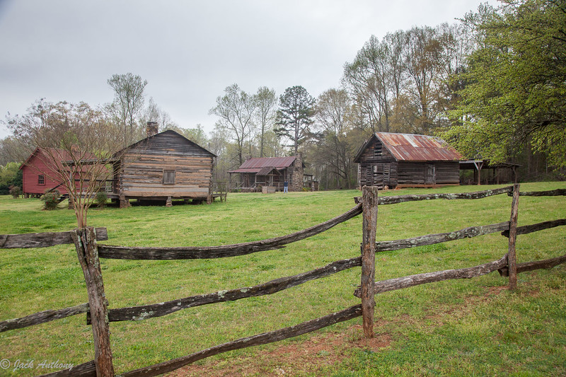 Buildings in the heritage village in Hurricane Shoals  County Park  in Maysville, Ga.