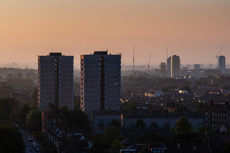 Council estate tower blocks in South London