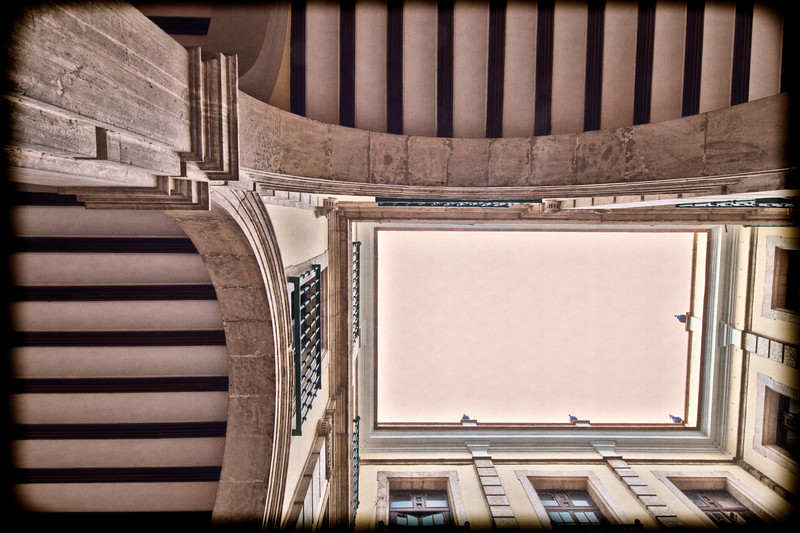 Courtyard, low angle view, University of Seville (former Royal Tobacco Factory), Seville, Spain
