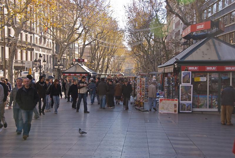 Looking down Las Ramblas in Barcelona. (Dec 14, 2007, 12:25pm)