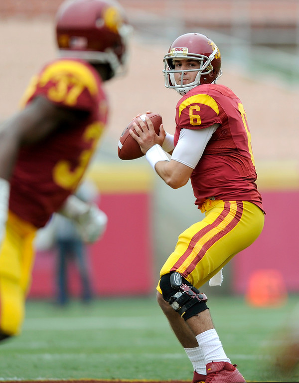 . QB Cody Kessler looks to pass during USC\'s Spring Football Game at the L.A. Memorial Coliseum, Saturday, April 13, 2013. (Michael Owen Baker/Staff Photographer)