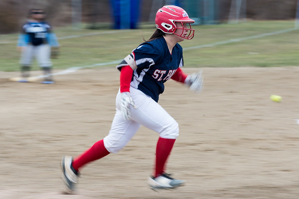 04/02/19 Wesley Bunnell | Staff St. Paul softball defeated Ansonia at home on Tuesday afternoon. Katrina Roy (20) runs out an infield hit.